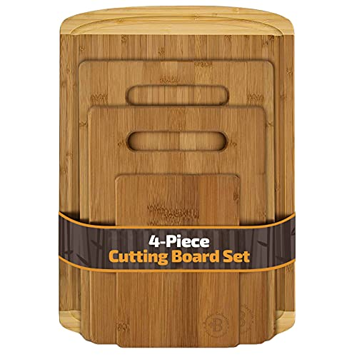 Bambüsi Bamboo Cutting Board Set of 4 – Kitchen Chopping Boards with Juice Groove for Meat, Cheese and Vegetables…
