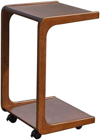 Korting GWFVA multifunctionele bijzettafel met afneembaar universele wiel, perfect ingebed in de onderkant van de bank, milieuvriendelijk hout, voor de woonkamer, keuken, eetkamer, bruin  Lxj46mN