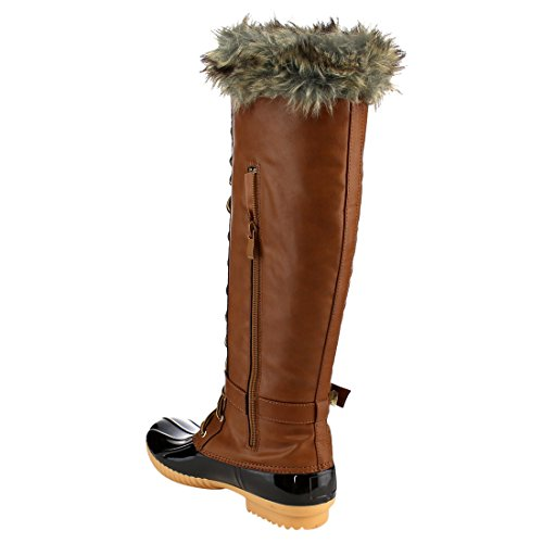 Nature Breeze FF70 Damen Knie High Lace Up isolierte Stiefel halbe Größe klein Bräunen