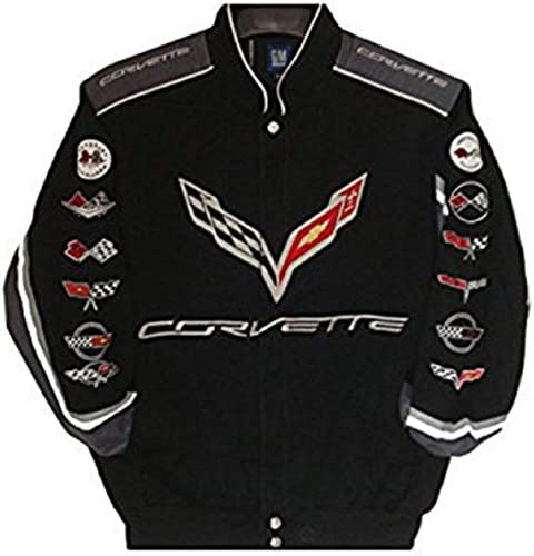 J.H. Design Corvette Racing Embroidered Cotton Jacket Black Size Large