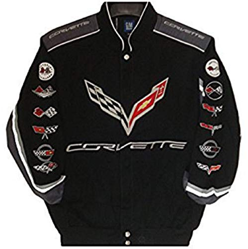 - J.H. Design Corvette Racing Embroidered Cotton Jacket Black Size Large