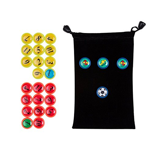 AGPTEK 26PCS Soccer Magnets, Football Magnets Tactic Coaching Strategy with Black Drawstring Bag (Whiteboard Bag)
