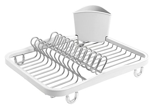 - Umbra Sinkin Dish Drying Rack - Dish Drainer Kitchen Sink Caddy with Removable Cutlery Holder, Fits In Sink or on Countertop, White