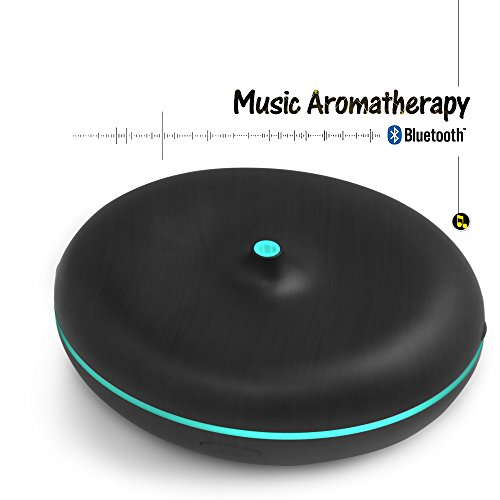 Aromacare Aromatherapy Essential Oil Diffuser, Oil Diffuser Bluetooth Speaker 4.0 with Bass Sound - Ultrasonic Cool Mist Humidifier 350ml Black for Cars, Kids, Home, Office with 7 Color LED Lights
