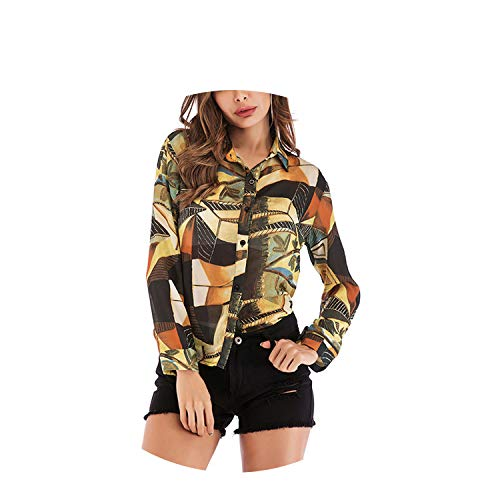 Fashion Vintage Abstract Geometric Print Blouses Women Long Sleeve Streetwear Shirts Female Slim Fit Casual Tops Bluasa,Blue,L ()