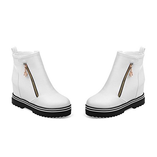 Zipper AgooLar Women's Heels Boots high Solid PU Ankle White High 1p1UZ