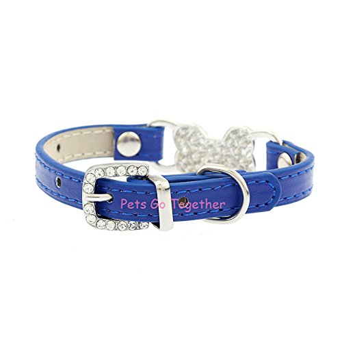 Hyalo(TM) Candy Color Pet Cat Collar Luxury Diamante Bling Bone Neck Strap PU Leather Adjustable Small Dog Collar
