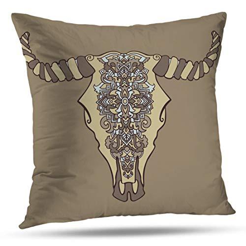 HAPPYOME Decorative Throw Pillow Covers Mandala Tattoo Cow Head Ornament Buffalo Skull Native Indian Pillow Case Cushion Cover for Bedroom Livingroom Sofa 20X20 Inches