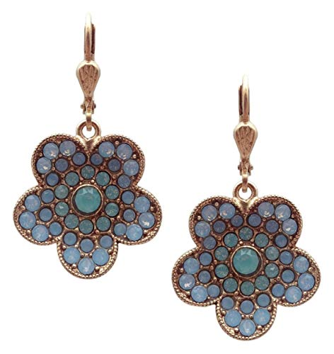 (Catherine Popesco Pacific & Air Blue Opalescent Swarovski Crystal Flower Goldtone Dangle Earrings)