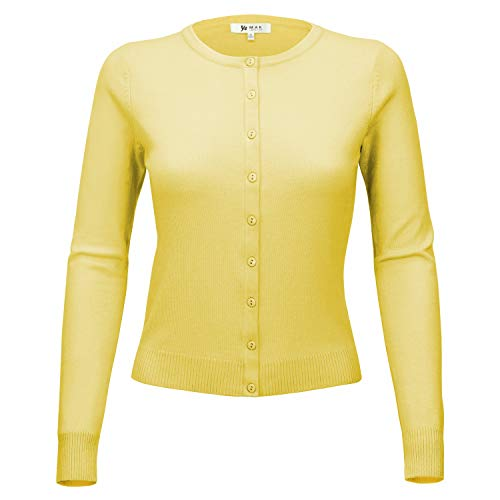 - YEMAK Women Long Sleeve Crewneck Button Down Casual Soft Cardigan Sweater MK0179-BYL-L Baby Yellow