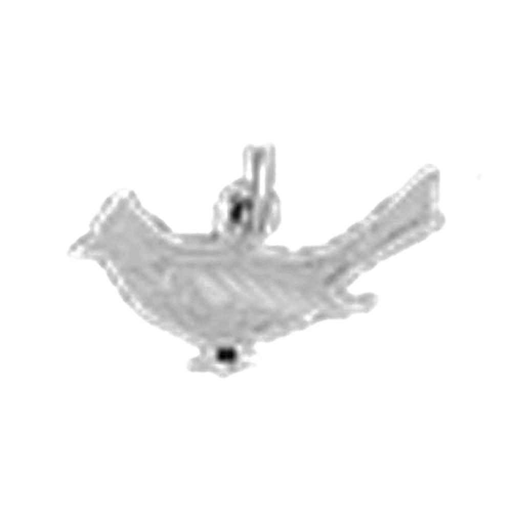 Jewels Obsession Cardinal Bird Charm Pendant 10 mm 14K White Gold Cardinal Bird Pendant