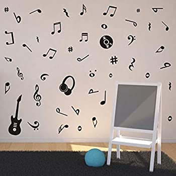 Musical Note Wall Decal Guitar Headset CD Vinyl Sticker for Kids Room Decor, Classroom Quote Note Stickers, Home Wall Art, Black