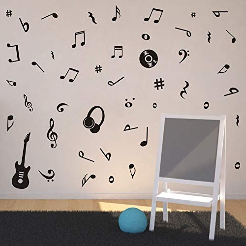 - TOARTi Musical Note Wall Decal Guitar Headset CD Vinyl Sticker for Kids Room Decor, Classroom Quote Note Stickers, Home Wall Art, Black