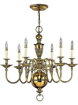 Cambridge 6 Light Chandelier In Solid Brass
