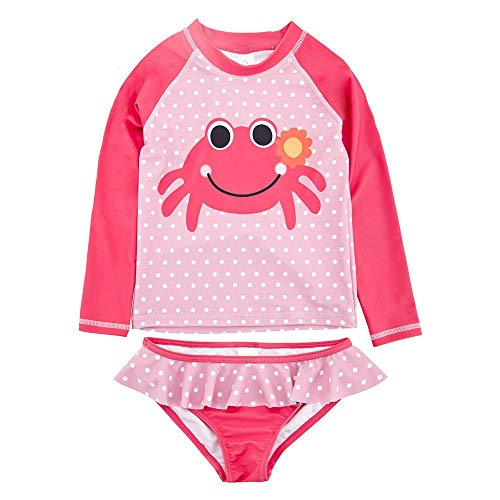 Achiyi Baby Girls Two Piece Swimsuits for Girls - Kids Girls 1-8T Long Sleeve Rash Guard Bathing Suit Swimwear with UPF 50+ 7T