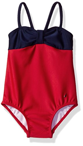 Nautica Baby Girls' Fashion One Piece Swim Suit with Upf 50+ Sun Protection, Bold Red, 18 (Bold Suits)
