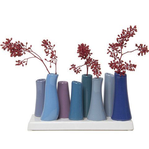 Chive - Pooley 2, Unique Ceramic Flower Vase, Low Rectangular Modern Decorative Vase for Home Decor Living Room Office and Centrepieces, Cobalt Blue Purple