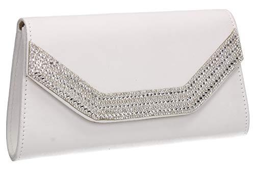 Bag Suede SWANKYSWANS Diamante White Harper Womens Faux Ladies Clutch RSZwBqzx