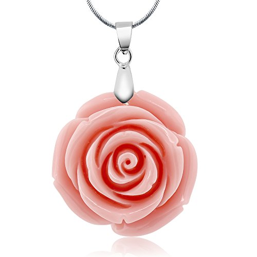 35mm Simulated Pink Coral Carved Rose Flower Pendant With 16