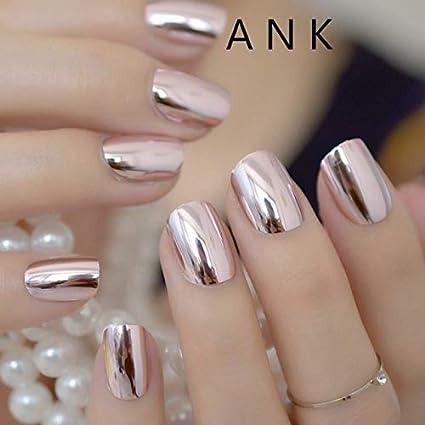 24 uñas Stiletto de espejo, color rosa, tamaño mediano, punta de ...