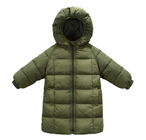 Xuvozta Toddler Boys Down Jacket Hooded Long Down Coat Soft Comfortable Winter Outwear 90 Green