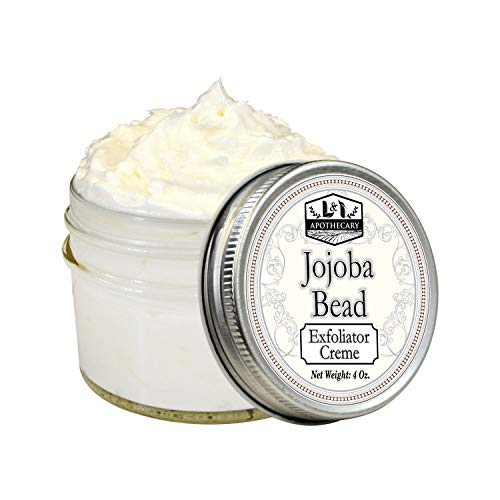- 4 oz Jojoba Beads Exfoliator Creme with 100% biodegradeable jojoba beads, aloe leaf juice, palm fruit oil,apricot kernel oil and Vitamin E