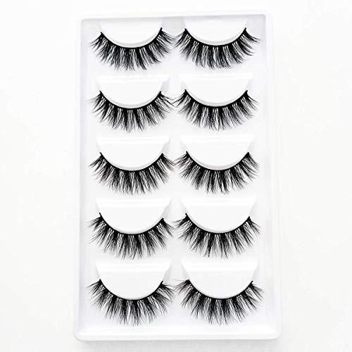 3D Wispies False Eyelashes Natural Long Lashes Bulk Extensions With Volume for Girl/Men Makeup Handmade Soft Eyelash,5PACK