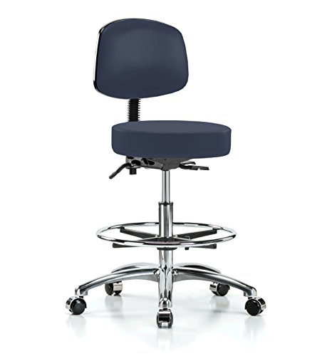 PERCH Chrome Walter Rolling Height Adjustable Doctor's Stool with Back and Footring for Hardwood or Tile | Workbench Height | 300-Pound Weight Capacity | 12 Year Warranty (Imperial Blue Vinyl) (Stool Physician Adjustable)