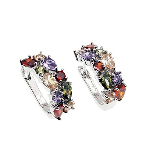 Vanessa Multi Gemstone Jewelry Sets for Women, Sparkling Garnet Amethyst Morganite Peridot Topaz Gifts for Her (Clip On Earrings)