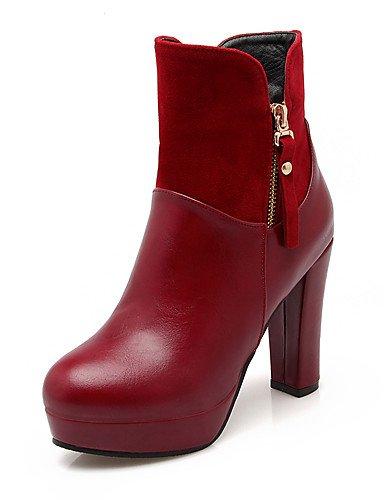us6 Chaussures bout La Beige gros Xzz Eu36 À Cn36 Bottes amp; Décontracté Evénement Beige bottes Talon habillé Femme laine Rouge Mode Arrondi Soirée noir Uk4 17AdnqF7