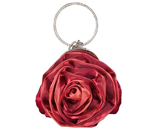 Colory Women's Pretty Flower Bridal Mini Bag Satin Clutch Purse Burgundy