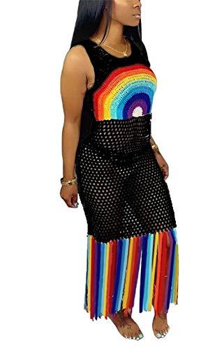 - LKOUS Women's Summer Sexy Rainbow Sleeveless Round Neck Mesh Hollow Out Tassels Long Maxi Dress Sundress