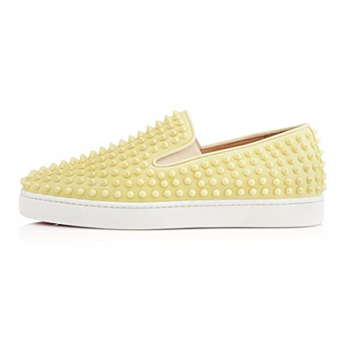On Loafers Fashion Cuckoo Yellow With Men's Spikes Sneakers Slip Black AwxTI