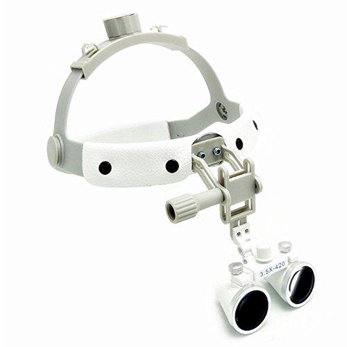 SoHome 3.5X Dental Surgical Binocular Loupes Leather Headband+3W LED Headlight Lamp