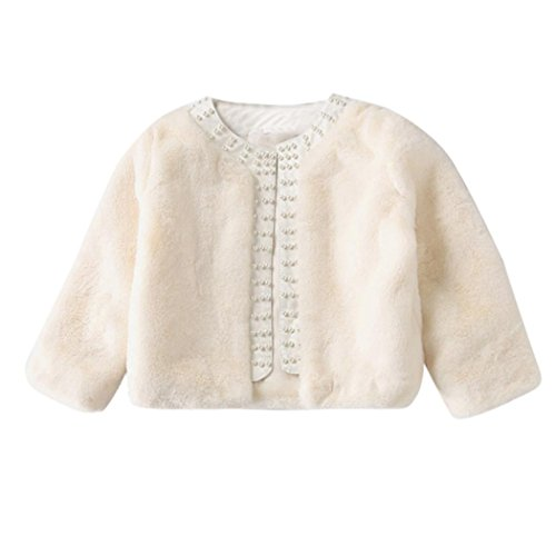 Toddler Girls Winter Coat, Inkach Baby Faux Fur Long Sleeve Jacket Thick Warm Outwear (White, 9)