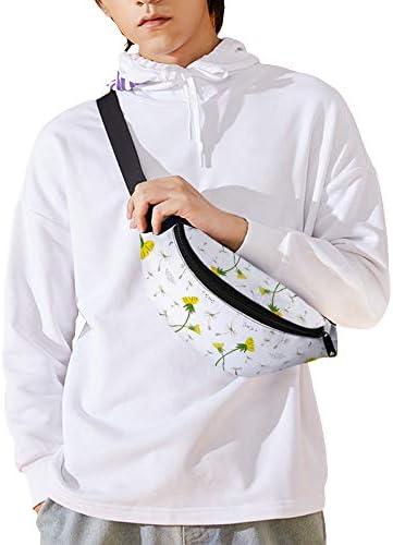 白い背景のタンポポ ウエストバッグ ショルダーバッグチェストバッグ ヒップバッグ 多機能 防水 軽量 スポーツアウトドアクロスボディバッグユニセックスピクニック小旅行