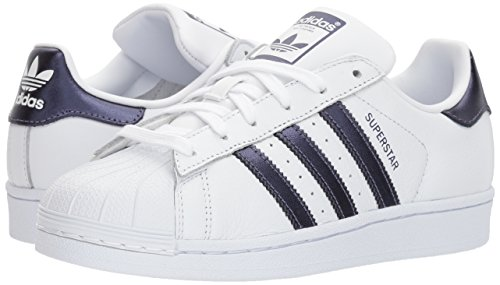 Adidas Originals Women's Superstar W Sneaker, White/Purple Night/White, 8 M US