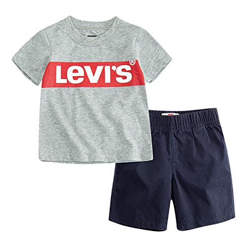 Levi's Baby Boys Graphic T-Shirt and Shorts Two-Piece Set, Grey Heather Box Tab/Obsidian, 12M