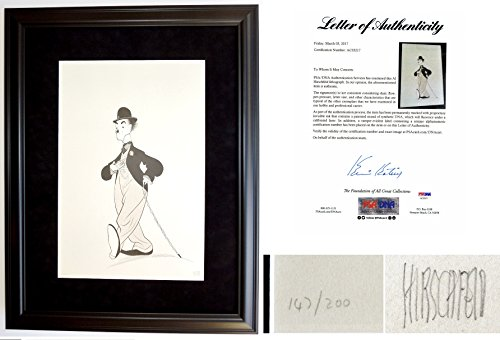 Autographed Limited Edition Lithograph - Al Hirschfeld Signed - Autographed Charlie Chaplin - The Front Limited Edition Original Lithograph Print - Black Custom Frame measures 34x27 inches - Deceased 2003 - PSA/DNA FULL Letter of Authenticity (COA)