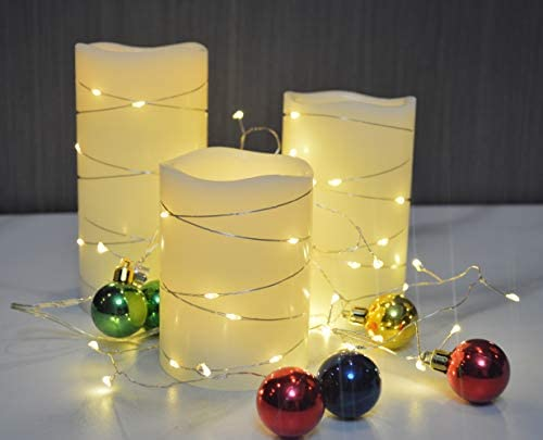 Flameless Candles Battery Operated Ivory Real Wax Pillar H-BLOSSOM LED Candles with Embedded String Lights LED Cycling 5H Timer Pack of 3 3 x 4 5 6