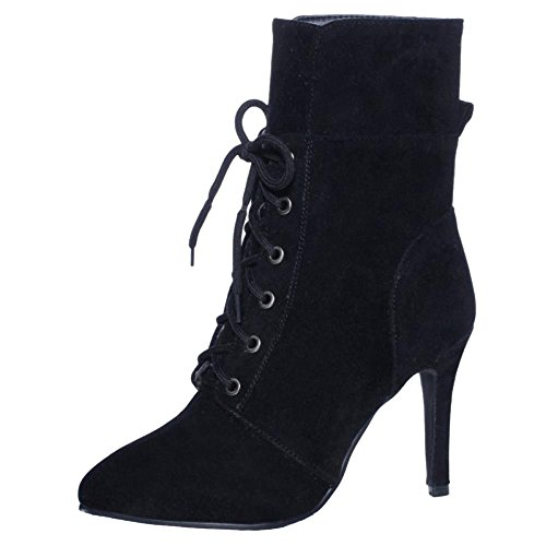 Dress Elegant Autumn Black Stiletto Up Lace h Boots Ankle Women Coolcept IRqwnCZa