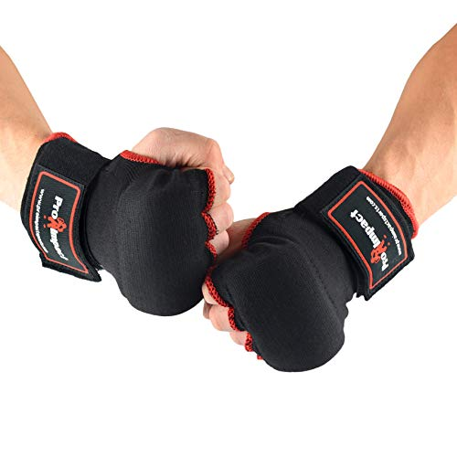 Pro Impact Boxing MMA Quick Handwraps Gloves - Easy to Use Fist & Wrist Protection - Adjustable Fit for Boxing MMA Muay Thai - 1 Pair (Black Red, Large)