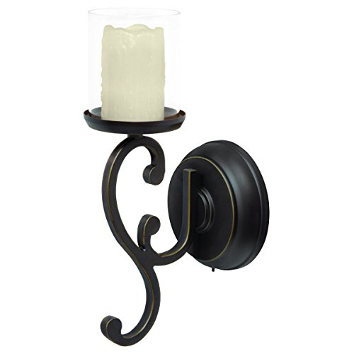 Candle Impressions Flameless LED Candle Wall Sconce - Rubbed Bronze Swirl Design w/ 5 Hour Timer ...