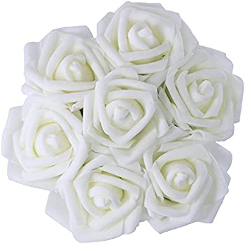 50Pcs Artificial PE Foam White Roses Flowers 236 Inch Wedding Bride Bouquet Real Touch Looking