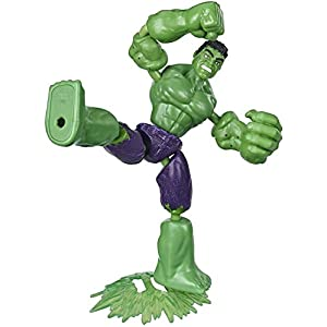 Avengers Marvel Bend and Flex Action Figure Toy, 6-Inch Flexible Hulk Figure, Includes Blast Accessory, for Kids Ages 4 and Up