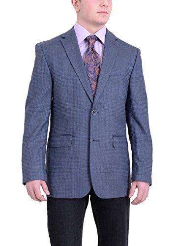 Vince Camuto Modern Fit Blue Tonal Check Textured Silk Blend Blazer Sportcoat (Jacket Textured Silk)