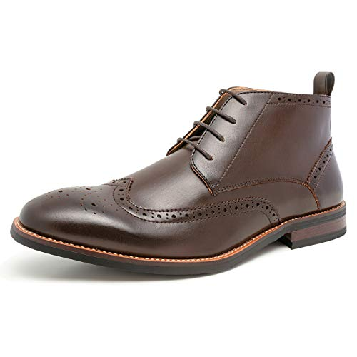 (WULFUL Mens Leather Lined Oxford Dress Boots Dark Brown 10.5)