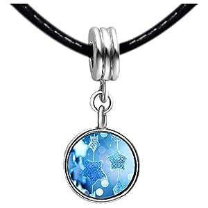 Chicforest Silver Plated The Christmas star Photo Blue Zircon Crystal December Birthstone Flower dangle Charm Beads Fits Pandora Bracelets