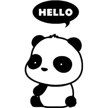Hello cute baby panda vinyl decal sticker 6 tall carbon fiber color