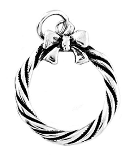 Sterling Silver Christmas Wreath W/Bow Charm/Pendant Jewelry Making Supply Pendant Bracelet DIY Crafting by Wholesale Charms